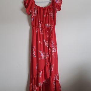 Red Floral Maxi Summer Dress